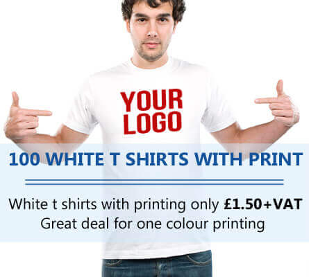 100 WHITE T Shirt Printing with 1 Colour