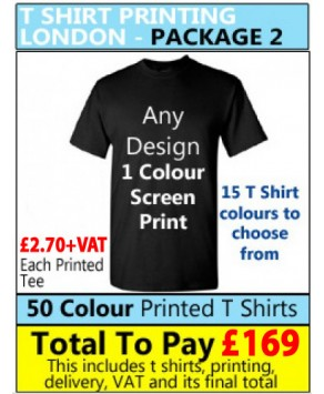 50 COLOURED T Shirt Printing with 1 colour