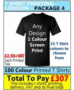 100 Coloured T Shirt Printing with 1 colour