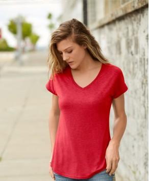 Personalised Anvil 159GSM Ladies V-Neck T-Shirt