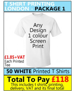 50 WHITE T Shirt Printing with 1 colour