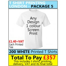 200 WHITE T Shirt Printing with 1 colour