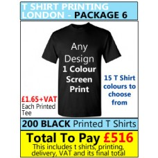200 Coloured T Shirt Printing with 1 colour