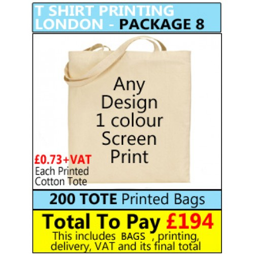 200 Custom printed Natural GREY Cotton Totes bags